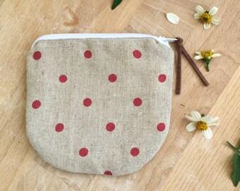 Handmade Linen Polka Dots mini Zipper Pouch, Coin Zipper purse