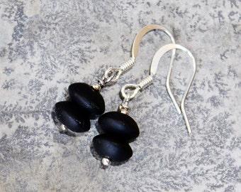 Black Earrings, Sea Glass Earrings, Handmade Earrings, Neutral Earrings, Everyday Earrings