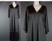 40% OFF 60s 70s Vanity Fair Black Lounge Loungewear Set Tunic High Slit Wide Leg Pants Lingerie 34 XS S M