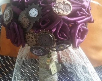 Steampunk Bouquet, Fabric Bouquet, Fabric Rose, Fabric Flower, Clock Gear Flowers, Alternative Bouquet, Clock Bouquet, Vintage Bouquet