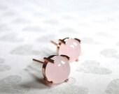 SALE Jewelry, Earrings, Pale Pink Opal Studs in Rose Gold Setting, Opal Stud Earrings, Gift for Her, Luxe Earrings, Rose Gold Opal Studs