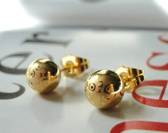 Earrings / 18k Gold Filled Textured Earrings / Studs / Gift for Her / Holiday Earrings / Accessories / Gold Studs