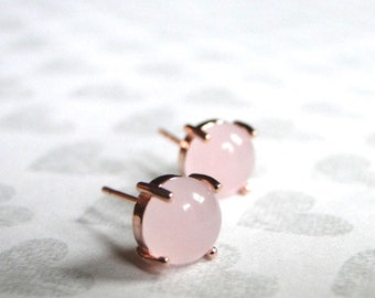 Jewelry, Earrings, Pale Pink Opal Studs in Rose Gold Setting, Opal Stud Earrings, Gift for Her, Luxe Earrings, Rose Gold Opal Studs