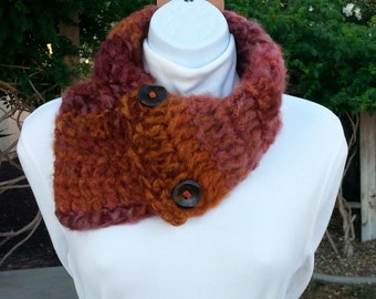 OOAK NECK WARMER Scarf, Red Brown Rust Orange Rose, with Wood Buttons, Soft Lightweight Crochet Knit Buttoned Cowl Scarflette..Ready to Ship