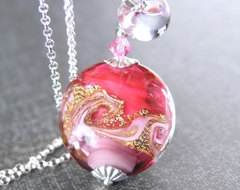Ocean Wave Pink Ruby Necklace Sterling Silver 14K Gold Foil Venetian Murano Glass Necklace Nautical Beach Necklace Ruby Pink Pendant