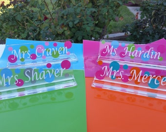 Teacher Appreciation Gift - Teachers name plate - acrylic name plate - desk name plate - acrylic name desk plate - Christmas
