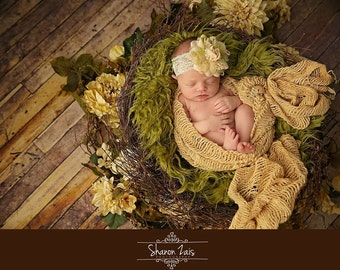 Olive Green Super Long Faux Fur Nest Photography Prop Rug Newborn Baby Toddler