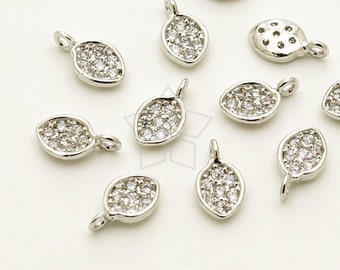 PD-1579-OR / 2 Pcs - Tiny Mini Delicate CZ Leaf Charm, Seed Pendant (Crystal), Silver Plated over Brass / 4mm x 7mm