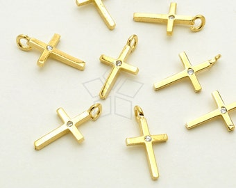 SV-149-GD / 2 Pcs - Tiny Solitaire CZ Cross Pendant, Simple Cross Charm, 16K Gold Plated over 925 Sterling Silver / 6.5mm x 11mm