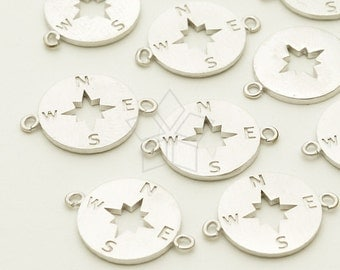 PD-1205-MS / 2 Pcs - Compass Sideways Pendant for Bracelet, Matte Silver Plated over Brass / 11mm