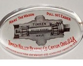 Advertisement for Timken Roller Bearing Company in Clear Glass Paperweight Office Supplies Paper Handling Paperweights