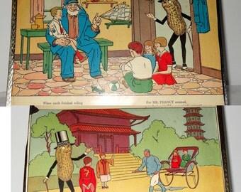 Pair of Framed Mr. Peanut Cartoons Home and Garden Decor Artwork Posters Prints and Visual Artwork