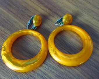 Pair Vintage Butterscotch Bakelite Dangle Earrings 1950s FREE SHIPPING!!