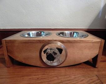 dog bowl stand,elevated dog feeder,pet supplies,pug gifts,pug lovers,elevated dog bowls,pug lover,stand for dog bowls,dog feeder,dog bowls