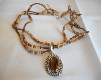 Vintage Avon Brown Beaded Choker Pendant Necklace