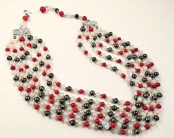Faux Moonstone Japan Necklace, Vintage Jewelry, Vintage Necklace, Beaded Necklace, Red and Gray Choker, Faux Hematite Necklace, Red Choker