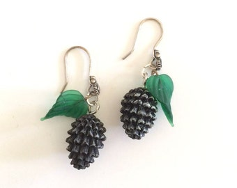 Collecting Pine Cones - Pine Cone And Glass Leaf Dangle Earrings