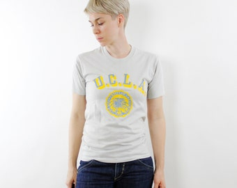 Vintage 80's UCLA t-shirt, pale gray, bright yellow & blue logo, soft 50/50 poly cotton - XS / Small