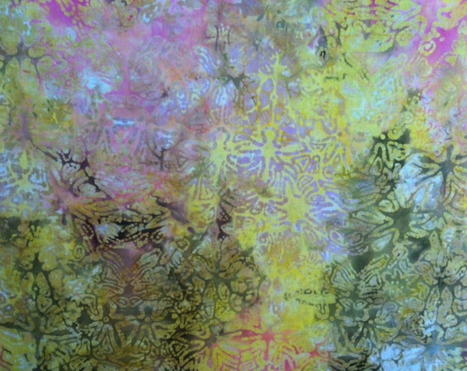 Yellow green pink Hand dyed batik fabric quilt fabric by the yard Fat quarter 100% cotton fabric yardage