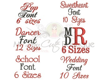 Monogram Fonts for Embroidery - 6 Fonts Included - 6 or 10 Sizes for Each - Instant Download