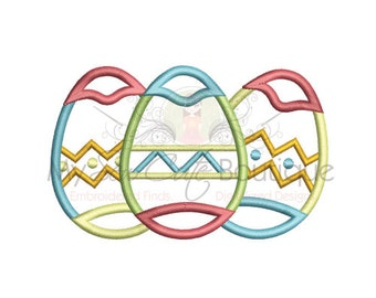 Easter Egg Applique Design - Machine Embroidery Bunny Designs - 6 Sizes - Instant Download