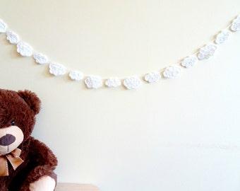 White cloud garland - crochet clouds decor - baby nursery garland - baby shower decor - kids birthday party decorations ~35.5 in