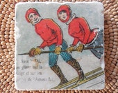 "Marble Stone Coaster - Vintage Ski - ""Ski Couple"" - Ski Decor - Ski Gift - Ski Coaster - Alpine - Chalet - Drink Coaster - Old Ski - Cabin"