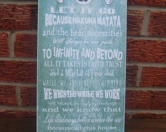 shabby chic in this house we do disney let it go typography family happily ever after wooden sign plaque