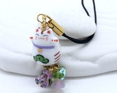 Happy Cat Phone Charm -  White Porcelain Maneki-Neko Bead, Lucky Cat Bead with Lilac, Lavender and Deep Purple Czech Glass Flowers