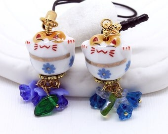 Maneki-Neko Phone Charm -  Blue Floral Happy Cat, Lucky Cat Bead, White Porcelain, Choice of Flower Colors