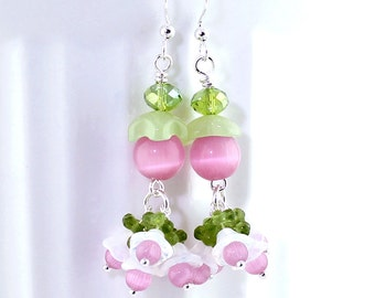 Springtime Earrings - Pink Cats Eye Beads, Spring Green Crystals, Milky White Opalite, Czech Glass Bell Flowers, Silver Plated Earwires