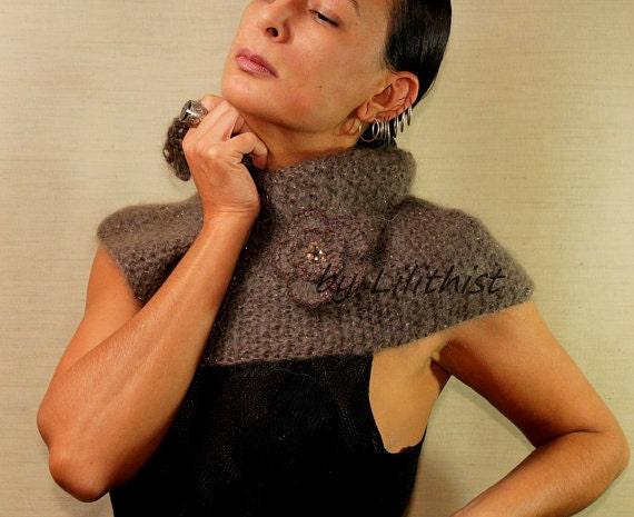 Wool Cape Poncho, Brown Cowl, Cape Shawl, Knit Shrug Shawl Bolero, Mohair Shoulder Scarf, Brown Glitter Fall Winter Cape, Women Accessories