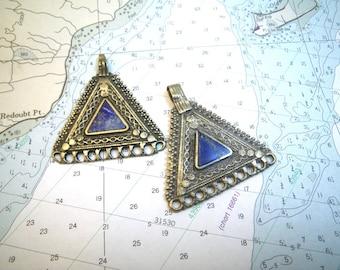 Brass & Lapis Lazuli Ethnic Pendants Pair Triangles