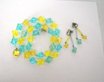 Aqua & Chartreuse Lucite Necklace and Earrings West Germany Chunky