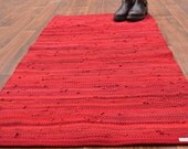 Handwoven Rug - 27x 52 woven from Red Recycled T Shirts - Washable & Reversible
