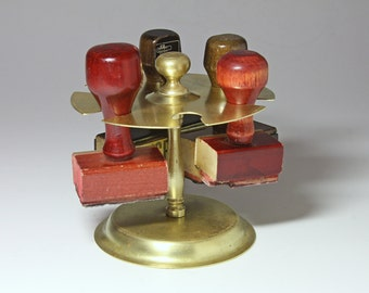 Vintage Brass Rubber Stamp Holder- circa 1940's