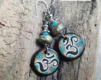 Ohm Namaste Wood Tile Earrings, colorful, yoga jewelry, blue, silver, jlynn jewels, hippie, boho, artisan, long, sterling silver earwires