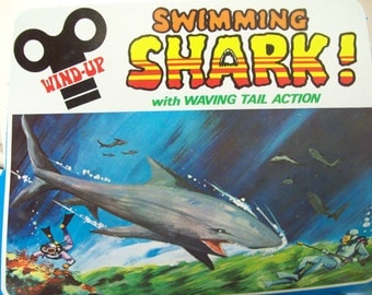 Vintage NOS Wind-Up Swimming Sharks, 1 Dozen, For Tub, Pool & Sea Side Fun, 1960s Made in Hong Kong