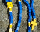 First Communion Gift Special-Lego Rosary and Lego Chaplet -  The Original Lego Rosary in Blue and Yellow for Children