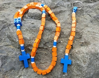 First Communion Gift Special-Lego Rosary and Lego Chaplet- The Original Catholic Lego Rosary - Orange and Blue