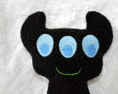 Handmade Stuffed Black Horned Monster - Fleece, Child Friendly machine washable softie plush