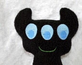 Handmade Stuffed Black Horned Monster - Fleece, Child Friendly machine washable softie plush
