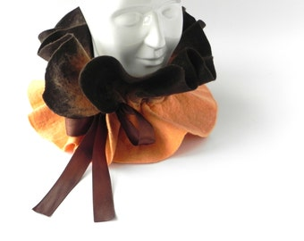 Felt wool scarf, brown felt scarf, warm woman scarf, Great gift idea, gift for mother, Gift for her, CHRISTMAS GIFT
