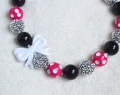 Girls' Pink Minnie Mouse Inspired Big Bead Bubble Gum Beaded Necklace: Minnie Birthday Necklace
