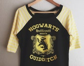 Womens - Hufflepuff Harry Potter Quidditch Raglan Tee, size L READY TO SHIP