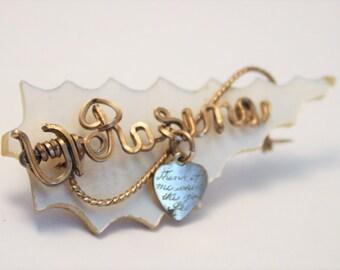 Vintage name brooch. Rosina. Mother of Pearl brooch.  Sweetheart brooch