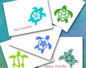 Hawaiian Sea Turtle Note Cards, Five Designs, Custom Personalized, Made to Order/Petroglyph Honu Hibiscus Thank You/Beach Wedding/Blue Green
