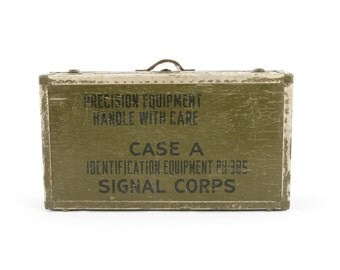vintage large WWII military signal corps photography equipment trunk