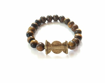 Mens tiger eye stretch bracelet// stretch beaded bracelet// copper// yoga bracelet