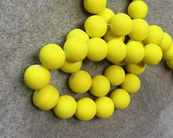Neon Yellow - Silicone Beads - Silicone Coated Glass Beads - 10mm - 1/2 strand 20 Beads
